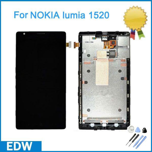 Один штук черный Дисплей LCD Цифрователя запчастей для Nokia Lumia 1520 ЖК Сенсорный экран + Рамка корпус замена +инструменты NP152
