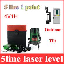 Inclinable laser level verde 5 línea 1 punto giratorio 360 degree 4V1H lazer autonivelante cruz líneas + outdoor FD-6 fondos detector LL40