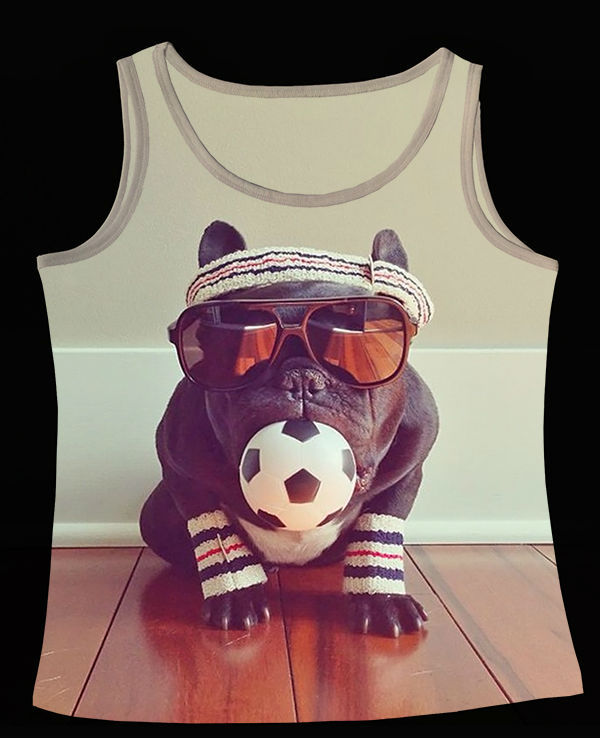 Track Ship+Vintage Vest Tanks Tank Tops Camis Animal trotter the french Black Bulldog Sun Glasses Football in Mouth(Hong Kong)