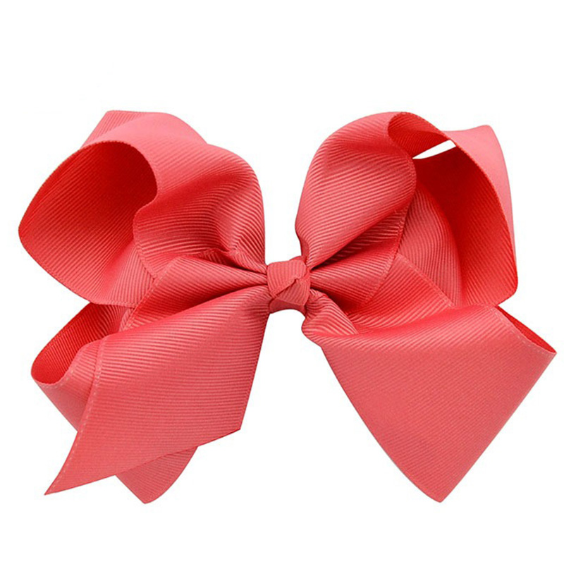 6 Inch Big Hair Bow Girls Solid Grosgrain Ribbon Bows Watermelon Red With Alligator Clip Boutique Hairpin Baby Hair Accessories(China (Mainland))