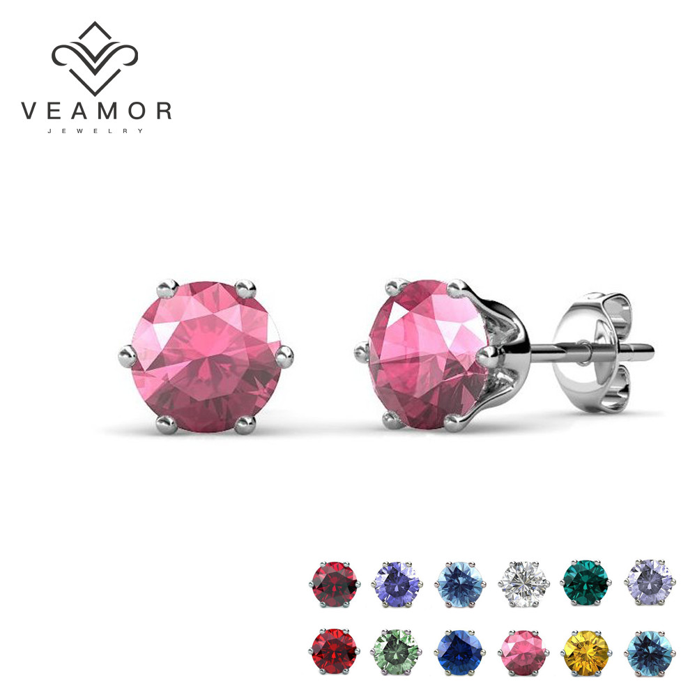 12 colors birthstone earring Rose flower Crystals from SWAROVSKI stud earrings for women fashion jewelry(China (Mainland))