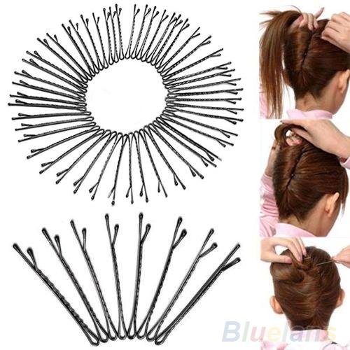 Гаджет  New 50pcs Metal Waved Hair Clips Bobby Salon Pins Grips Hairpins Barrette Black styling tools None Красота и здоровье
