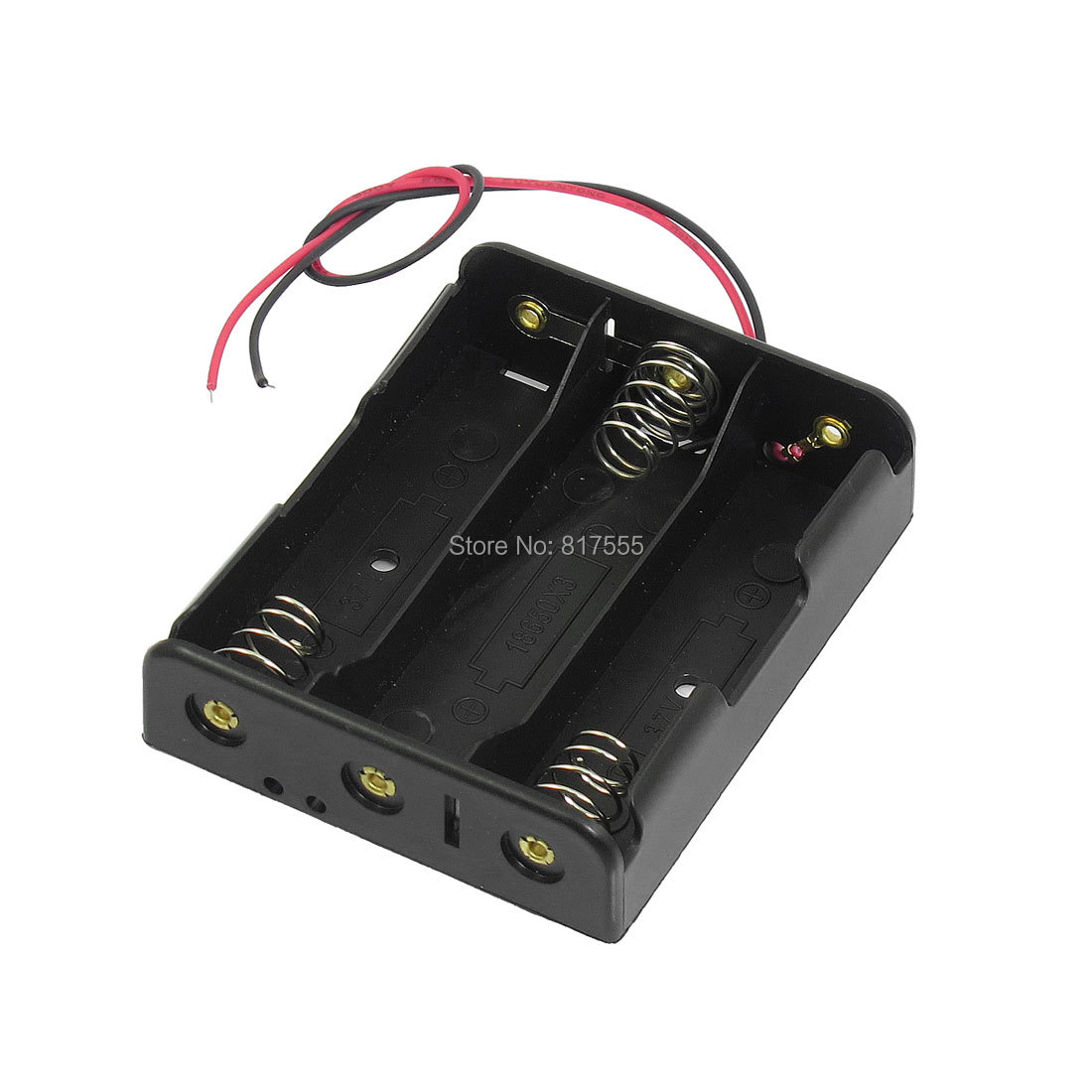 Гаджет  Series Black Plastic 3.7V Flat Tip Battery Holder Case for 3 x 18650 Batteries None Бытовая электроника