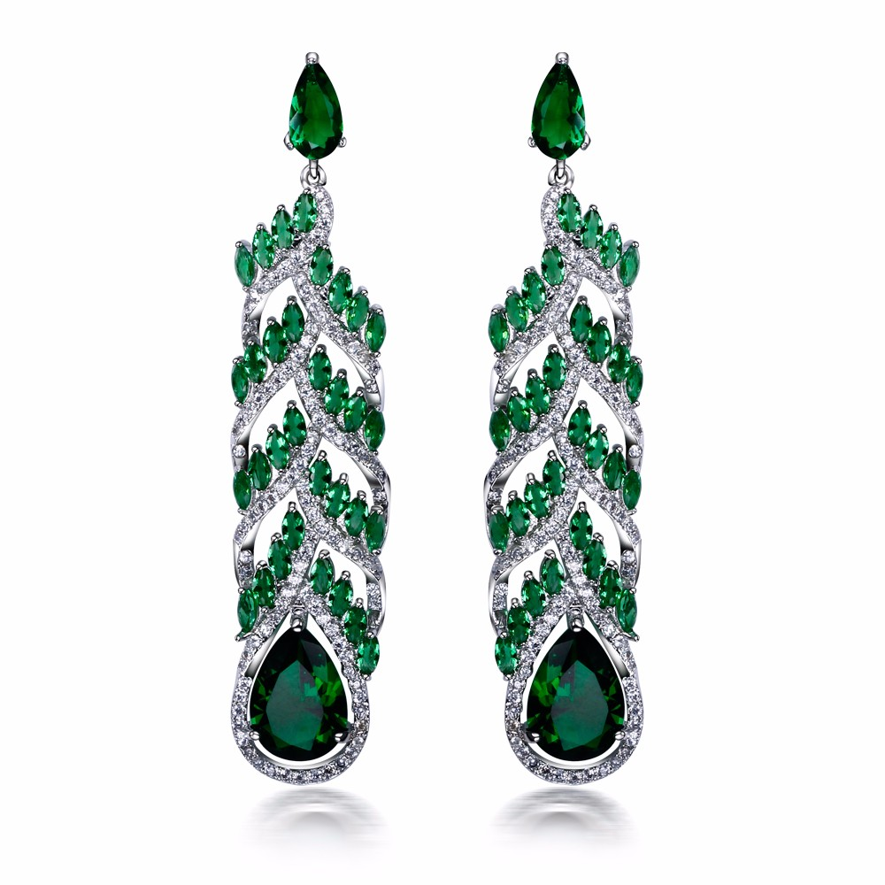 Mansaku Marriage anniversary Platinum Plated Green/Red color Cubic Zirconia free Luxury Big Drop Earrings earrings for women(China (Mainland))