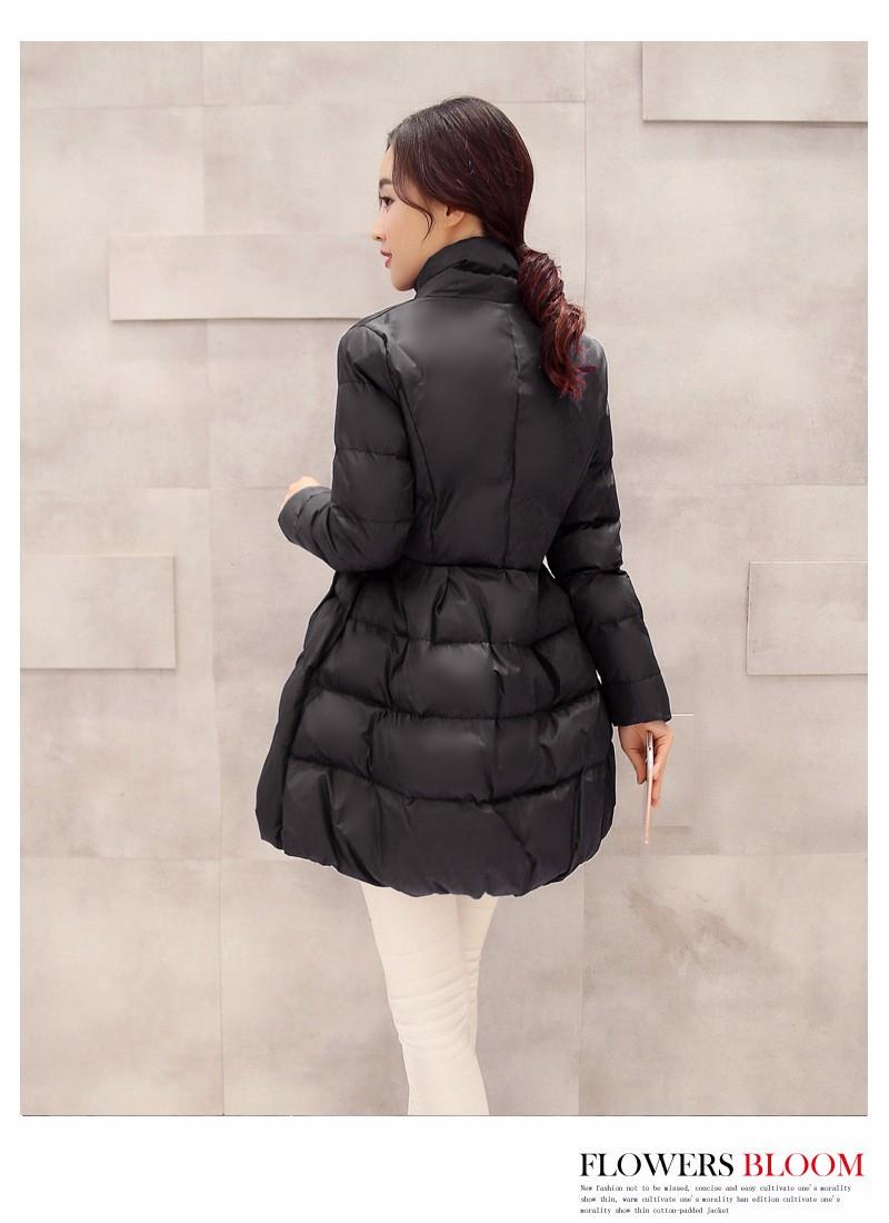Скидки на 2016 мода зима новый Корейских женщин хлопок талия тонкая талия в длинный участок с длинными рукавами вниз парка