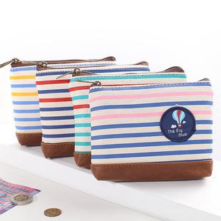 Lemon grass hearts . marine wind multicolour stripe canvas PU coin case coin purse sundries storage bag(China (Mainland))