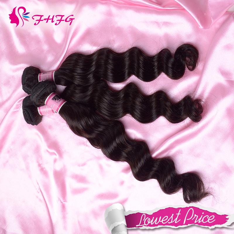 100% Human Hair Weaving 3 Bundle Brazilian Virgin Hair No Tangle Best Selling Brazilian Loose Wave Unprocessed Cheap Hair(China (Mainland))