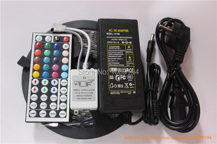 Ip65 waterproof led strip light 5050 smd 300led 5M RGB led rope +44key IR remote controller + 12V 5ATransformer(China (Mainland))
