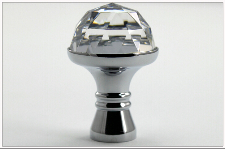 D20mm top great bright chrome color pure copper with k9 crystal glass faceted cutting diamond cabinet knob drawer pull handle <br><br>Aliexpress