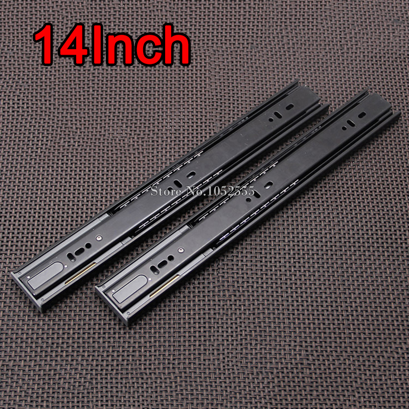 "High Quality 14"" 3-fold Steel Ball Bearing Telescopic Cabinet Drawer Runners Slide Rails Furniture Accessories E191-3(China (Mainland))"