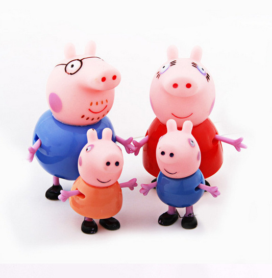 Peppa Pig Plastic Action Figures Peppa Pig Family Toys Hobbies Action Toy Figures 4Pcs/lot Free Shipping(China (Mainland))