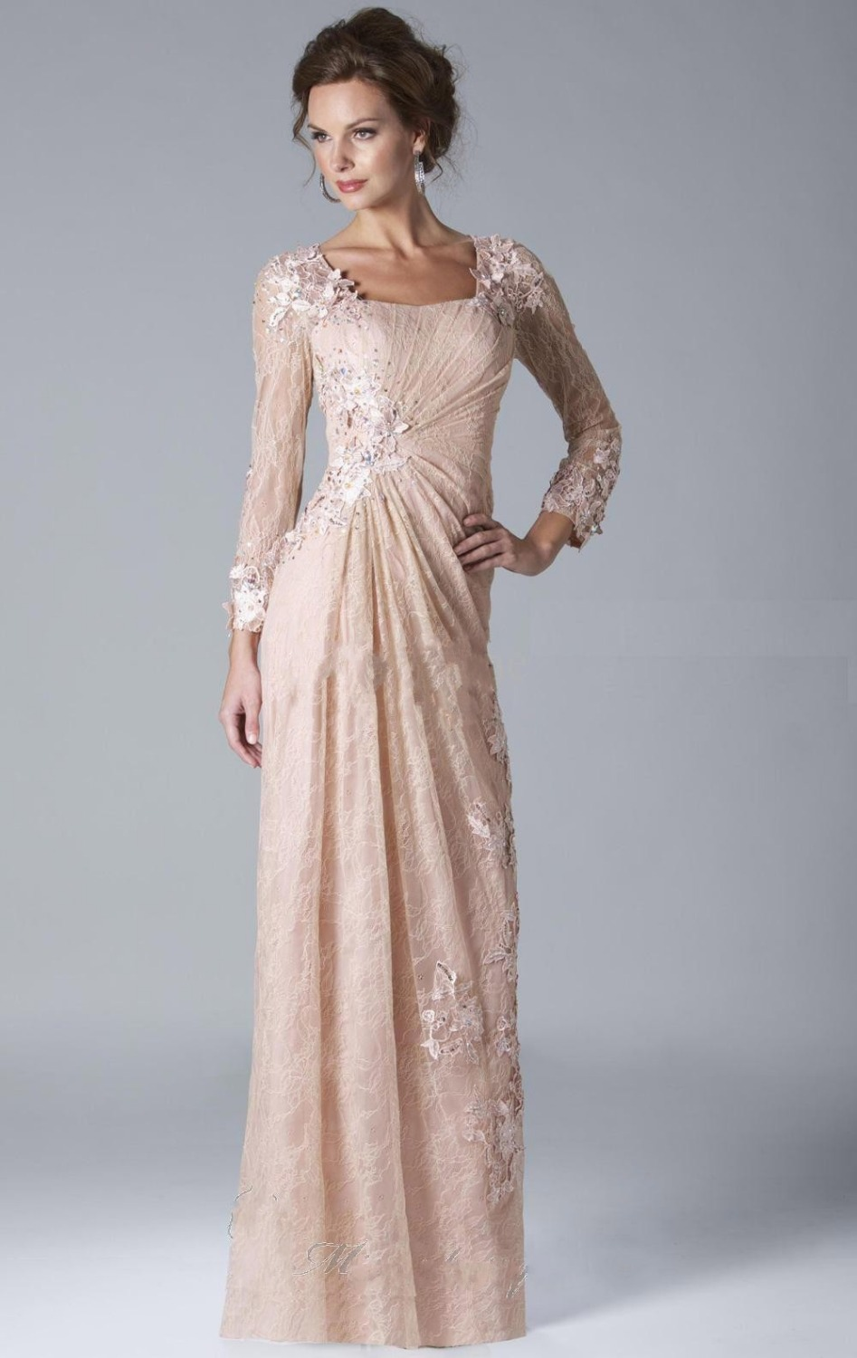Bateau Neckline Long Champagne Chiffon Lace Mother Of The
