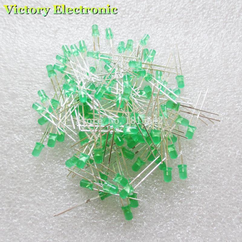 Гаджет  New 100PCS/Lot 3MM LED Diode Round Green Color Light Lamp F3 DIP Highlight Wholesale Electronic None Электронные компоненты и материалы