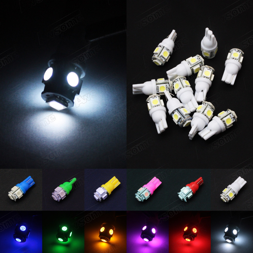 Crazy Sale!! 50pcs 5 Color Mix Vehicle T10 168 192 W5W 5 LED 5050 SMD Wedge Light Door License Plate Red Green Blue White Yellow<br><br>Aliexpress
