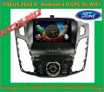 DHL Free shipping New 8'' touch screen Android 4.0 1G CPU DDR3 Car DVD Player For Ford Focus 2012 Can Bus GPS dongle MIC 3G WIFI