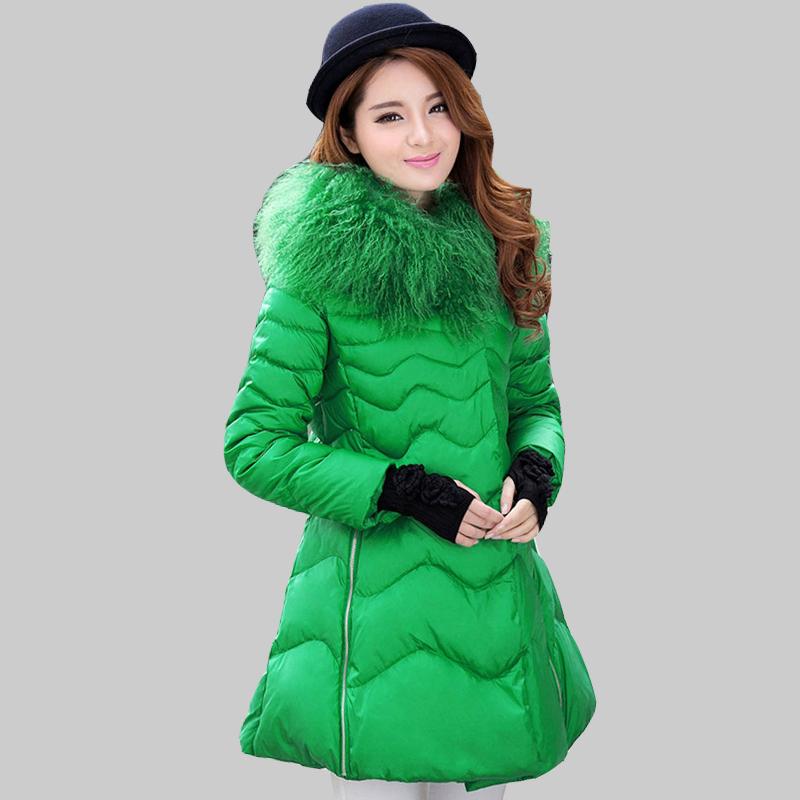 European 2015 New Warm Winter Jacket Women Long Sleeve Thick Long Fur Collar White Duck Down Coat Female Parkas Mujer Cape YB913