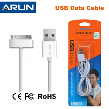 2016 High Quality Original ARUN 30 Pin USB Data Cable for iPhone 4 4S Charging Cable For iPad 1 / 2 / 3 Fast Charge & Data Sync(China (Mainland))