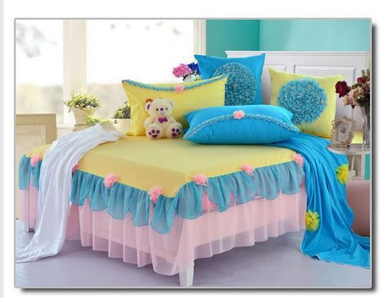 Korean Princess bedding set full queen size blue yellow
