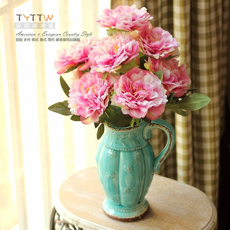 Free Shipping 9 fork peony fashion peony Artificial flower High Quality Fast Delivery(China (Mainland))