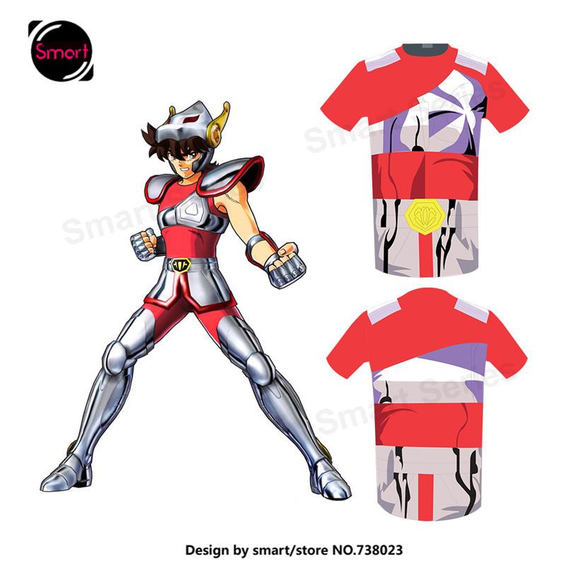 2016 New Summer Men T Shirts Saint Seiya Bronze Saint Phoenix Ikki Tee Cosplay Costume Summer Style Short Sleeve Tracksuit 4XL(China (Mainland))