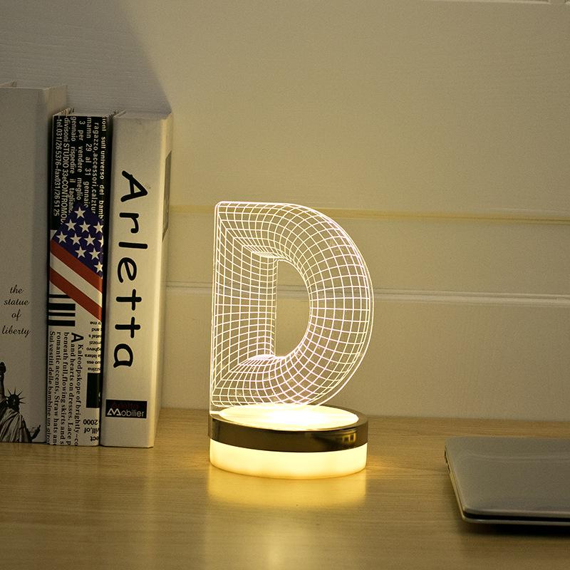 Acrylic Letter D 3D LED Lamp Baby Night Light Sleeping Lighting 5V USB Small led table Lamp Big white Creative Small Desk Lamp(China (Mainland))