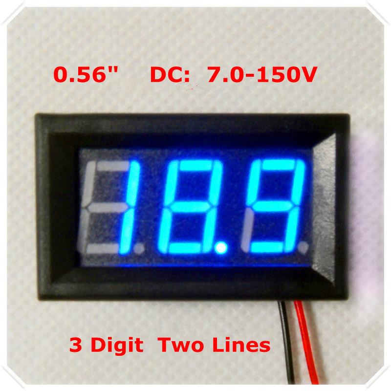 "0.56"" Digital Voltmeter DC7-150V Electric bicycle car 2 wires 3 digit Voltage Panel Meter led Display Color: Blue [4 pcs / lot](China (Mainland))"