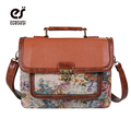 ECOSUSI Retro British School Women Messenger Bag Embossed Hollow Out Shoulder Briefcase Department Of Forestry Casual