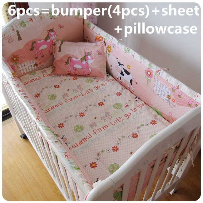 Promotion! 6/7PCS Baby crib bedding set baby bed set bedding bumpers , 120*60/120*70cm<br><br>Aliexpress