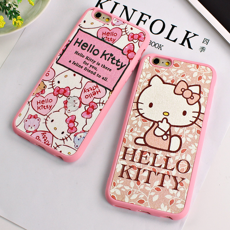 Lovely Cartoon Phone Case For Iphone 6 6s Pink Hello Kitty Hard Tpu Phone Cover For Phone6 6s 4.7inch 5 5s 6plus Free Shipping(China (Mainland))