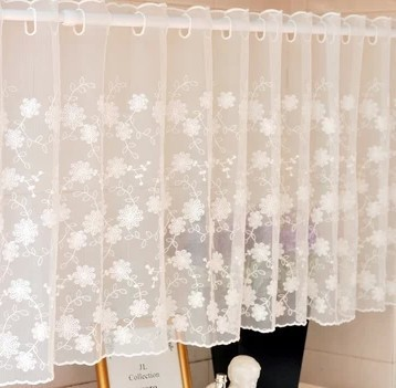 150x45cm white lace curtain cabinet kitchen curtain flower