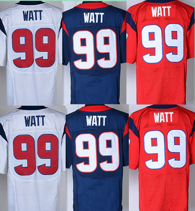 Cheap american Football Jersey #99 JJ Watt Jerseys Blue Red White Stitched Mens Elite Sport shirts Top quality Jersey Wholesale(China (Mainland))