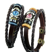 2016 New National Braided Leather Bracelet Wholesale Leather Lovers Bracelets Color Blue Pink(China (Mainland))