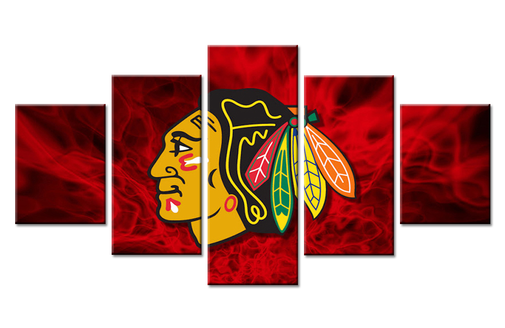 5 Panels Chicago Blackhawks Wall Art Picture Modern Home Decoration Canvas Print Painting Wall Picture Living Room Or Bedroom