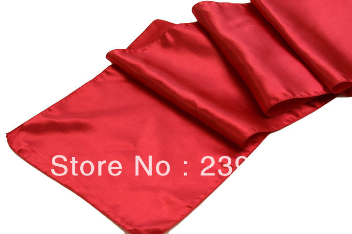 50pcs Cherry Red Table Runner for Weddings Events,,Satin Table Runner for Weddings Events &Banquet &Party Decoration(China (Mainland))
