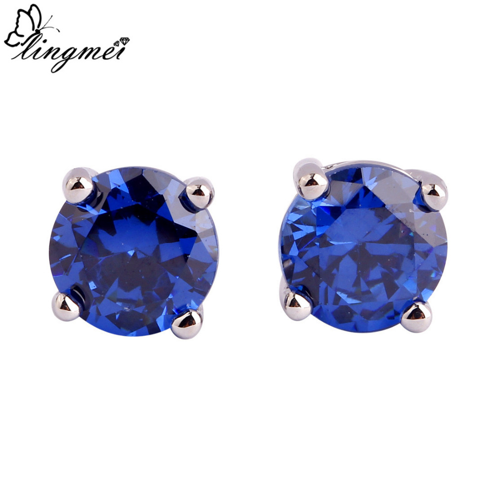 Lingmei New Style Unisex Forever Love Created Tanzanite Aaa Stud Silver  Earrings Fashion Nice Jewelry Wholesale