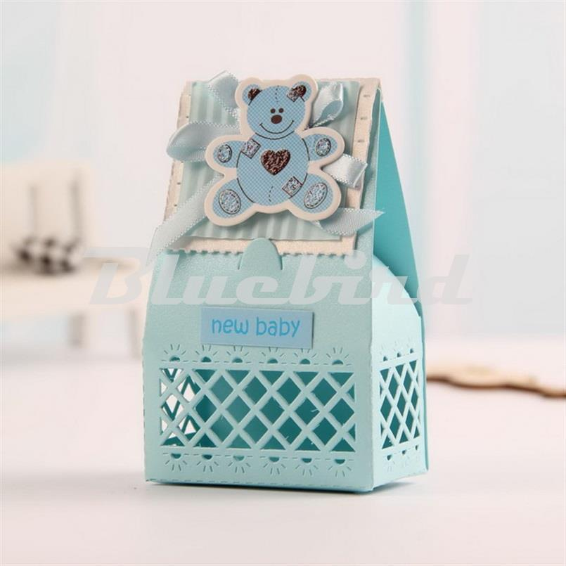 2016 New Cute Baby Favors Boxes Baptism Bombonieres Favors Baby Shower Favors Ideas Guests Gifts Box Pink and Blue(China (Mainland))