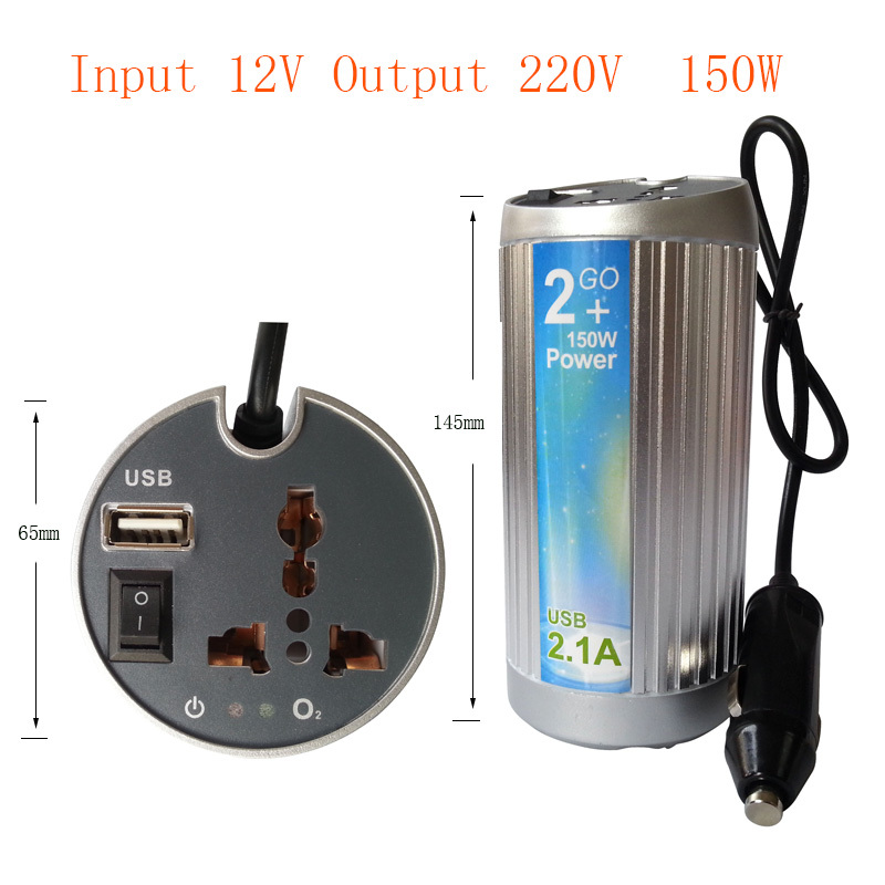150W DC 12V to AC 220V Car Modified sine wave Inverter Power Invertor with Laptop Charger Adapter USB 5V(China (Mainland))