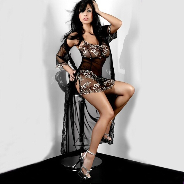 Free Shipping Wholesale Cheap Women's Very Sexy Lingerie Black Lace Long Dress Romantic Underwear with G-string(China (Mainland))