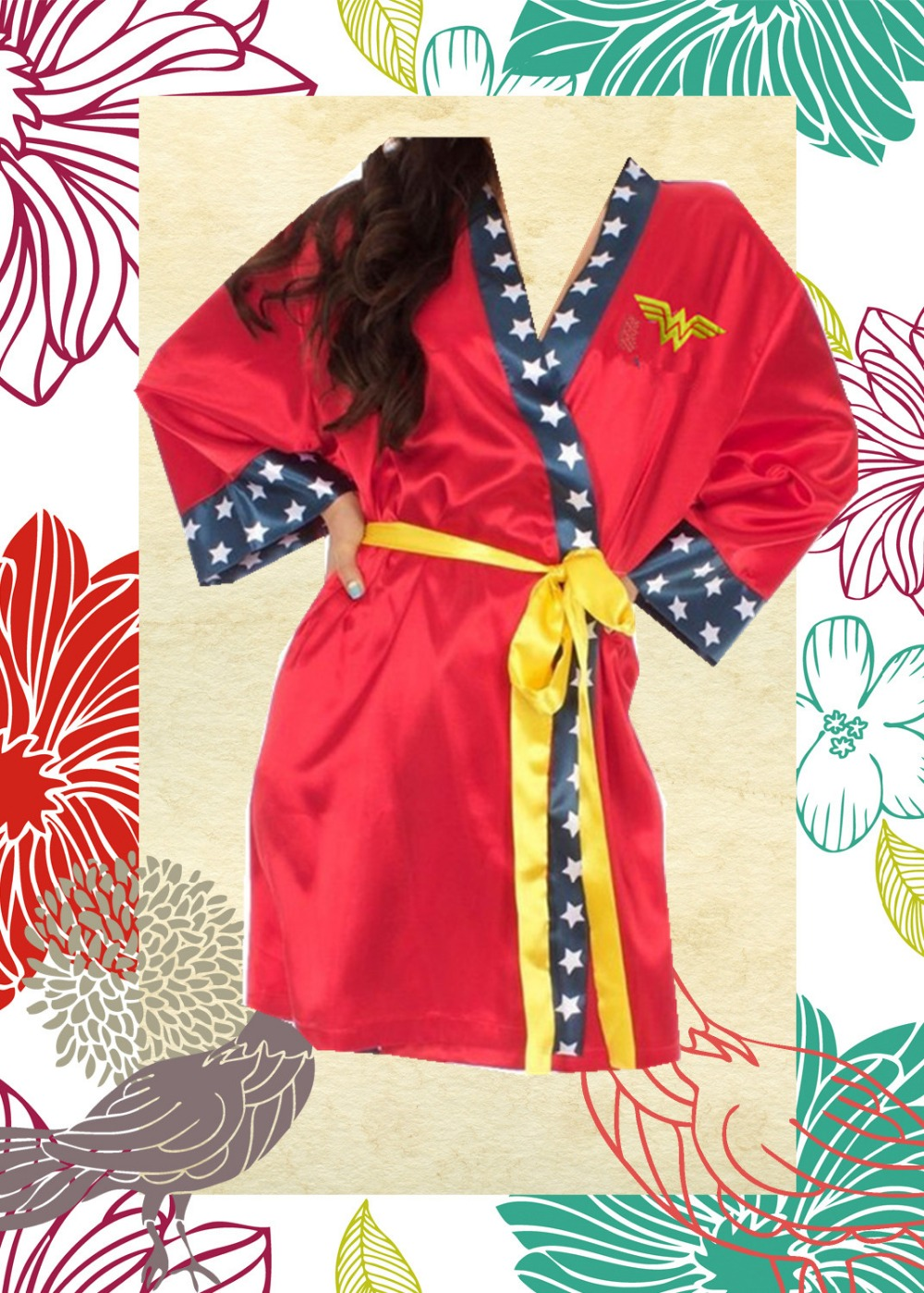 Wonder woman Polyster stain cosplay robe costumes-short style(China (Mainland))