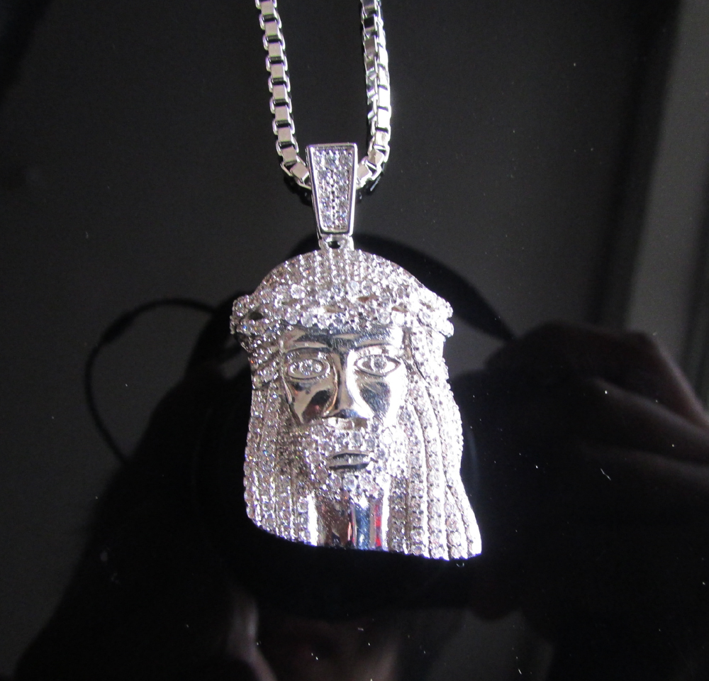 """hip hop JESUS Christ Piece Head Face Pendant & Necklace with 28"""" box Chain for men man Real white Gold CZ Jewelry(China (Mainland))"""