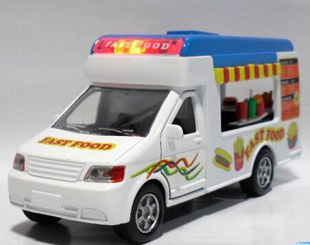 Gift for baby 1pc 14.5cm funny mobile fast food ice cream trucks car Acousto-optic alloy model home decoration boy toy(China (Mainland))