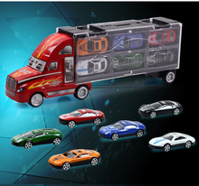 High Quality Authentic Portable Car Model Toy Car Educational Toys Container Plastic Truck With 12 Alloy Cars Full Colors(China (Mainland))