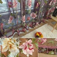 Hot House Elegant Floral Tulle Voile Window Curtain Panel Sheer Drape Scarf Valances 1 Pcs(China (Mainland))
