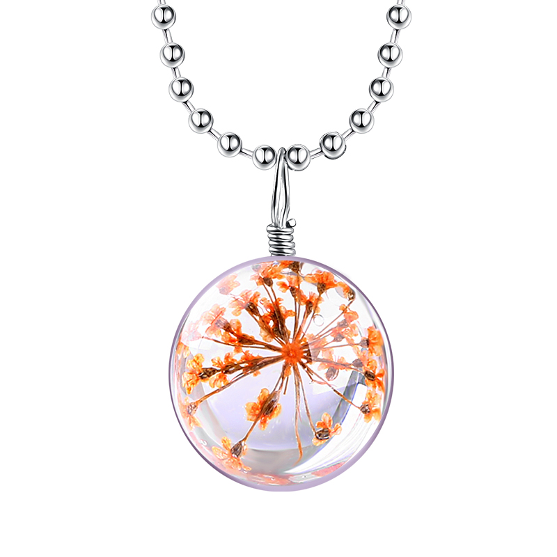 Fashion Hot sale Real Orange Flower Jewelry with Crystal Glass Ball Zinc Alloy Link Chain for Girls Party Wholesale NE0062 FYM(China (Mainland))