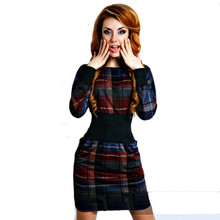 New Fashion Women Long Sleeve Ladies Dresses Tartan Patchwork O-Neck Vestidos Tunic Party Pencil Dress