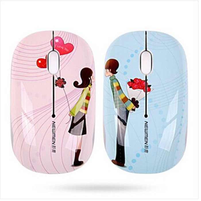 Genuine Newmen Couple Mouse wireless mouse Valentine's Day Gift Matt Engine mice Lovely male doll female doll mice(China (Mainland))