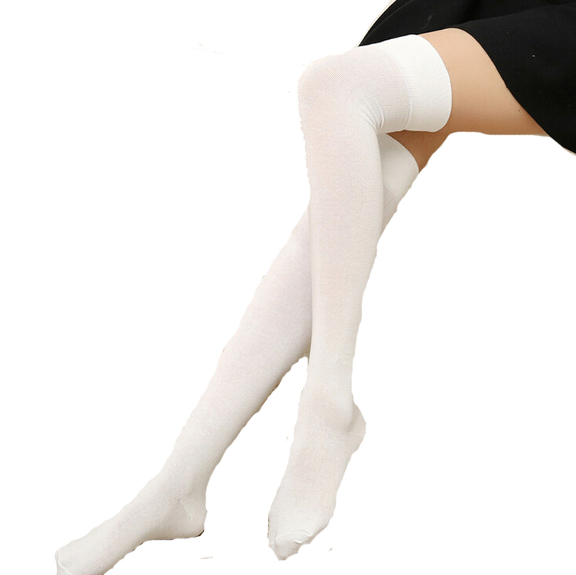 2016 New Fashion Stockings Women Cotton Solid Over the Knee Socks Pretty Very Soft High Quality Pure Color Thigh High Sock S071(China (Mainland))