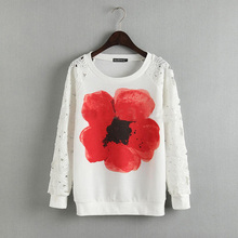 2015 New fashion Europe Women fashion Lace hollow out long sleeve Sweater Lady elegant floral print pullovers(China (Mainland))