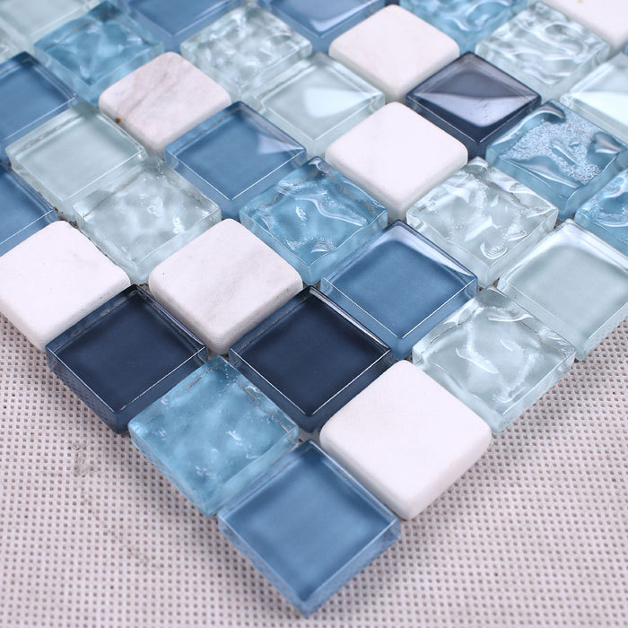 blue crystal mosaic glass mixed stone tiles for bathroom shower tiles wall mosaic kitchen backsplash hallway tile mesh backing(China (Mainland))