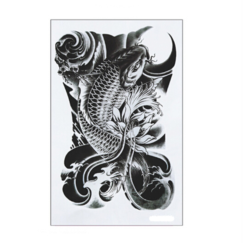 1Pcs Hot Black Fish Waterproof Tattoo Stickers On Arm On The Body Fake Tatoo Sleeve For Women Body Art Temporary Tattoos On Hand(China (Mainland))